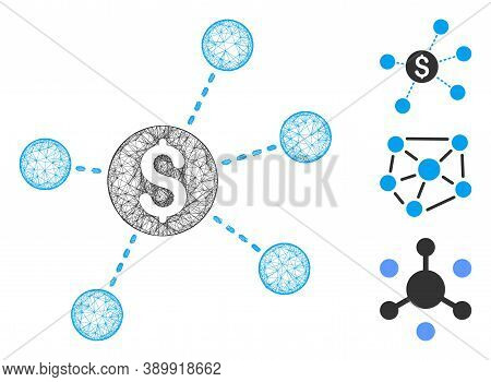 Mesh Dollar Virtual Links Polygonal Web Icon Vector Illustration. Carcass Model Is Based On Dollar V