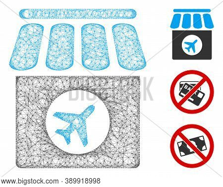 Mesh Duty Free Polygonal Web 2d Vector Illustration. Carcass Model Is Based On Duty Free Flat Icon.