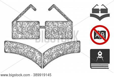 Mesh Education Book Polygonal Web 2d Vector Illustration. Carcass Model Is Created From Education Bo