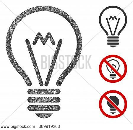 Mesh Electric Bulb Polygonal Web Icon Vector Illustration. Abstraction Is Based On Electric Bulb Fla
