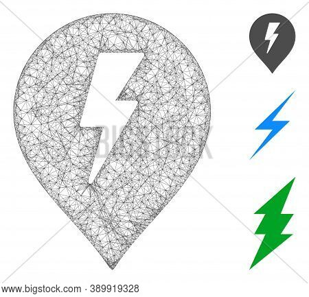 Mesh Electric Shock Marker Polygonal Web Icon Vector Illustration. Abstraction Is Based On Electric