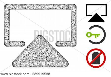 Mesh Enter Polygonal Web Icon Vector Illustration. Carcass Model Is Based On Enter Flat Icon. Triang