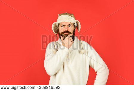Caring Fur Garments. Winter Fashion Concept. Warm Hat For Cold Weather. Sheep Fur. Bearded Funny Hip