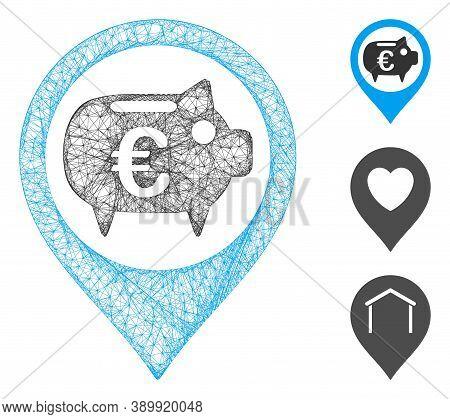Mesh Euro Bank Pointer Polygonal Web Icon Vector Illustration. Carcass Model Is Based On Euro Bank P