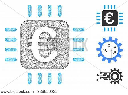 Mesh Euro Chip Polygonal Web 2d Vector Illustration. Carcass Model Is Based On Euro Chip Flat Icon.