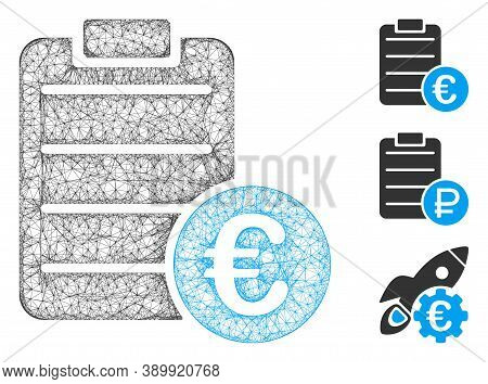 Mesh Euro Pad Polygonal Web Icon Vector Illustration. Carcass Model Is Created From Euro Pad Flat Ic