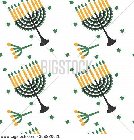 Hanukkah Vector Pattern, Hand-drawn Illustration Of The Holiday Of Candles. Cartoon Illustration Wit