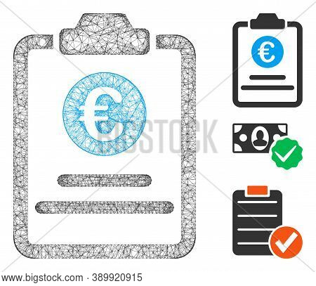 Mesh Euro Prices Pad Polygonal Web 2d Vector Illustration. Carcass Model Is Based On Euro Prices Pad