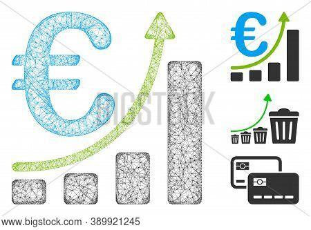 Mesh Euro Sales Growth Polygonal Web Symbol Vector Illustration. Model Is Based On Euro Sales Growth