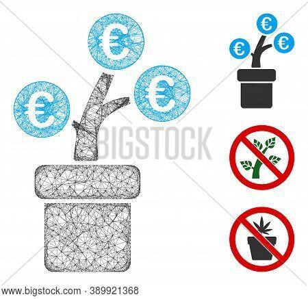 Mesh Euro Tree Pot Polygonal Web Icon Vector Illustration. Carcass Model Is Based On Euro Tree Pot F