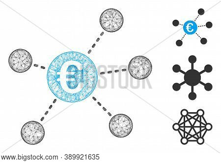 Mesh Euro Virtual Links Polygonal Web 2d Vector Illustration. Model Is Based On Euro Virtual Links F