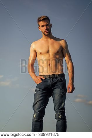 Be Strong. Naked Strong Man. Muscular Strong Man Has Wet Body. Athletic Body Shape. Shirtless Guy Re