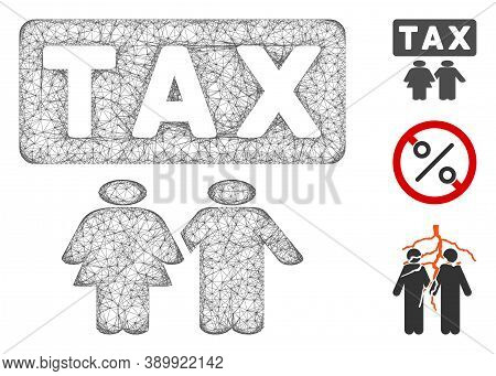 Mesh Family Tax Pressure Polygonal Web Icon Vector Illustration. Abstraction Is Based On Family Tax