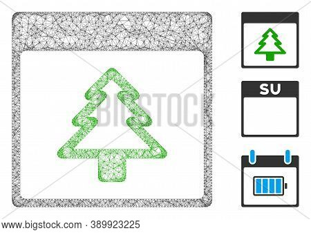 Mesh Fir Tree Calendar Page Polygonal Web Icon Vector Illustration. Carcass Model Is Based On Fir Tr