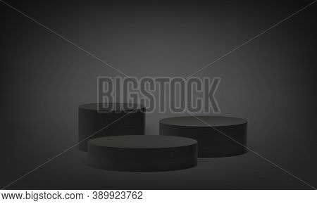 Podium Platform On 3d Base Stand, Vector Round Stage Pedestal On Black Gray Background. Round Pillar