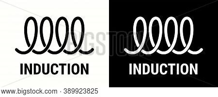 Induction Icon For Electric Hob And Cooking Stove Oven Cooker, Vector Symbol. Induction Spiral Icon
