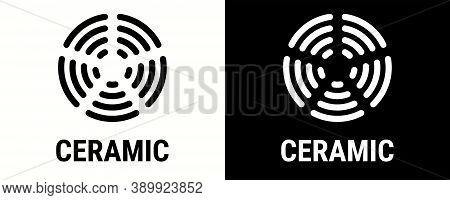 Ceramic Icon, Electric Hob And Cooking Stove Oven Cooker Vector Symbol. Ceramic Icon For Cookware Sa