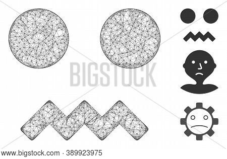 Mesh Fright Smiley Polygonal Web Icon Vector Illustration. Model Is Based On Fright Smiley Flat Icon