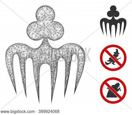 Mesh Gambling Spectre Monster Polygonal Web Symbol Vector Illustration. Model Is Created From Gambli