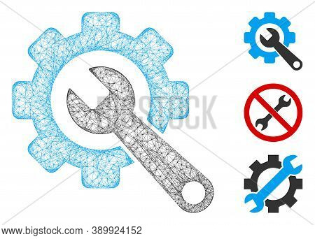Mesh Gear And Wrench Polygonal Web 2d Vector Illustration. Carcass Model Is Created From Gear And Wr