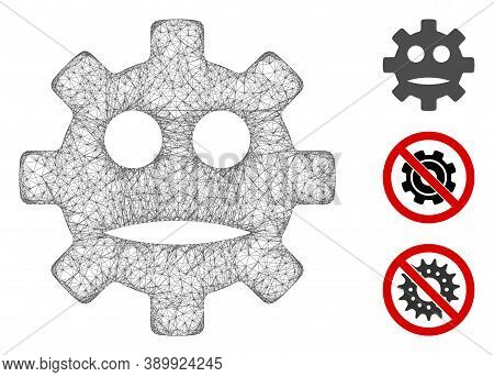 Mesh Gear Sad Smiley Polygonal Web Icon Vector Illustration. Abstraction Is Based On Gear Sad Smiley