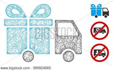 Mesh Gift Delivery Van Polygonal Web Symbol Vector Illustration. Model Is Based On Gift Delivery Van