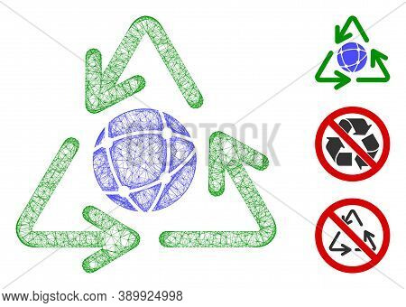 Mesh Global Recycling Polygonal Web Icon Vector Illustration. Carcass Model Is Based On Global Recyc
