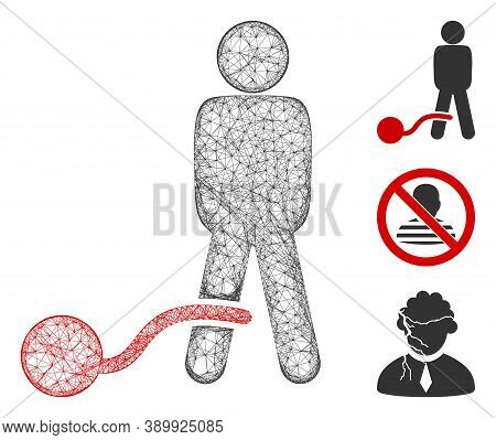 Mesh Guilty Man Polygonal Web 2d Vector Illustration. Carcass Model Is Based On Guilty Man Flat Icon