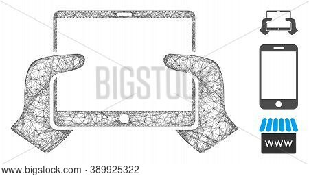 Mesh Hands Hold Pda Polygonal Web Icon Vector Illustration. Carcass Model Is Based On Hands Hold Pda