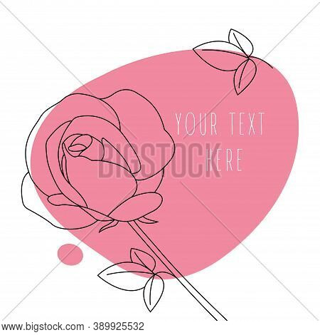 Abstract Line Art Leaf. Rose Contour Drawing. Minimal Art Leaf On Abstract Shapes Backgroud. Modern