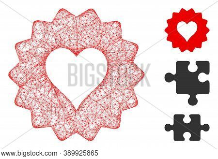 Mesh Hearts Token Polygonal Web Icon Vector Illustration. Carcass Model Is Created From Hearts Token
