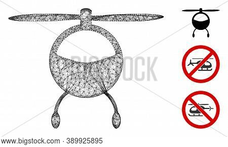 Mesh Helicopter Chopper Polygonal Web 2d Vector Illustration. Carcass Model Is Based On Helicopter C
