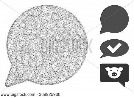 Mesh Hint Balloon Polygonal Web Icon Vector Illustration. Model Is Based On Hint Balloon Flat Icon.