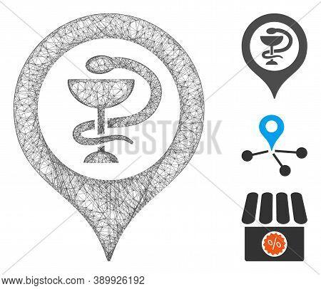 Mesh Hospital Map Marker Polygonal Web Symbol Vector Illustration. Model Is Based On Hospital Map Ma