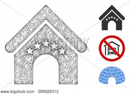 Mesh Hotel Building Polygonal Web Icon Vector Illustration. Model Is Created From Hotel Building Fla