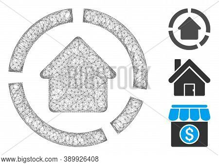 Mesh House Diagram Polygonal Web Symbol Vector Illustration. Carcass Model Is Based On House Diagram