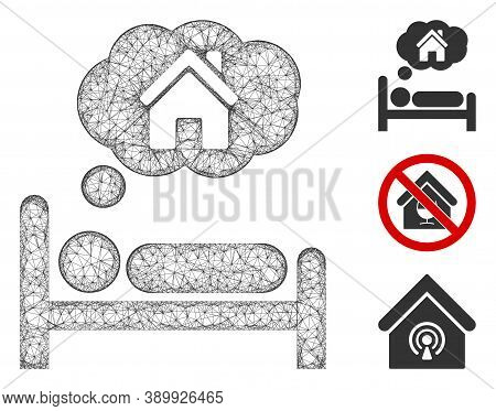 Mesh House Dreams Polygonal Web Icon Vector Illustration. Carcass Model Is Based On House Dreams Fla