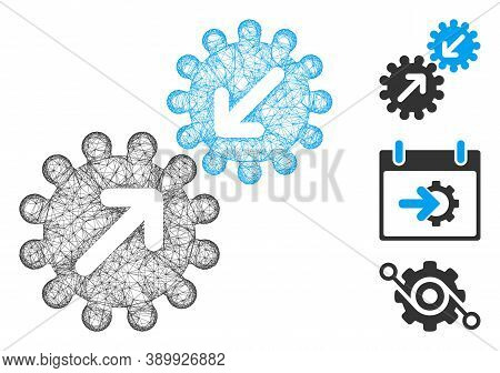 Mesh Integration Gears Polygonal Web Icon Vector Illustration. Model Is Based On Integration Gears F