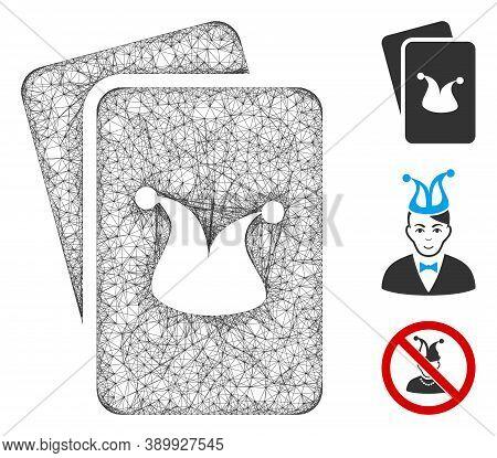 Mesh Joker Gaming Cards Polygonal Web Icon Vector Illustration. Model Is Created From Joker Gaming C