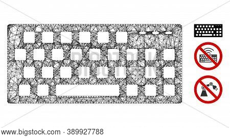 Mesh Keyboard Polygonal Web Icon Vector Illustration. Carcass Model Is Created From Keyboard Flat Ic