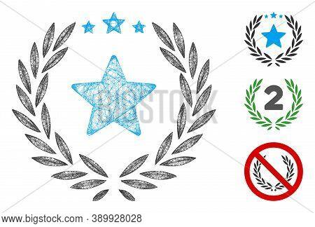 Mesh Laurel Star Emblem Polygonal Web Icon Vector Illustration. Abstraction Is Based On Laurel Star