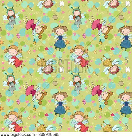 Pattern With Cute Cartoon Fairies. Fairy Elves. Childrens Illustration. Tooth Fairy