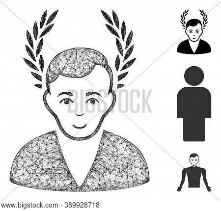 Mesh Man Glory Polygonal Web Icon Vector Illustration. Carcass Model Is Based On Man Glory Flat Icon
