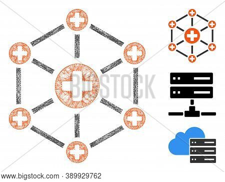 Mesh Medical Network Polygonal Web Icon Vector Illustration. Abstraction Is Created From Medical Net