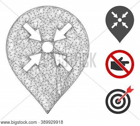 Mesh Meeting Point Marker Polygonal Web Icon Vector Illustration. Carcass Model Is Based On Meeting