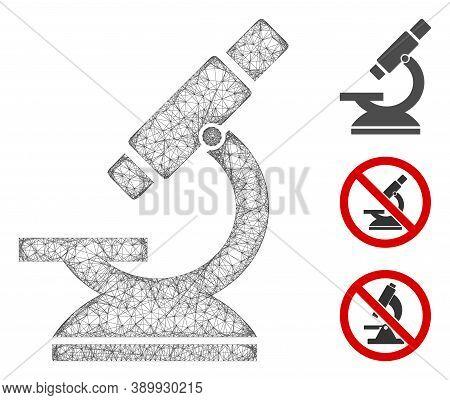 Mesh Microscope Polygonal Web Symbol Vector Illustration. Model Is Based On Microscope Flat Icon. Tr