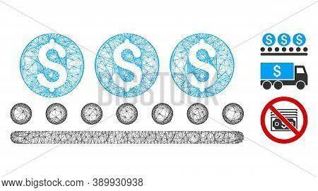 Mesh Money Conveyor Polygonal Web 2d Vector Illustration. Carcass Model Is Based On Money Conveyor F