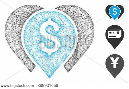Mesh Money Map Markers Polygonal Web Icon Vector Illustration. Carcass Model Is Based On Money Map M