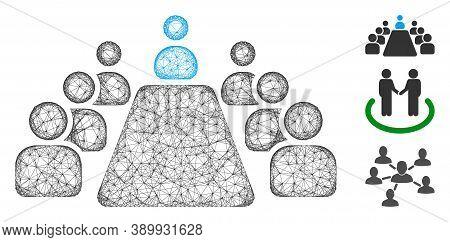 Mesh Office Meeting Polygonal Web Symbol Vector Illustration. Carcass Model Is Based On Office Meeti