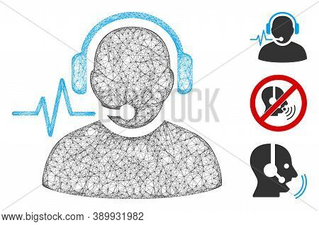 Mesh Operator Signal Polygonal Web Icon Vector Illustration. Carcass Model Is Based On Operator Sign